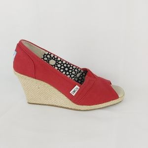 TOMS canvas red wedge peep toes shoes